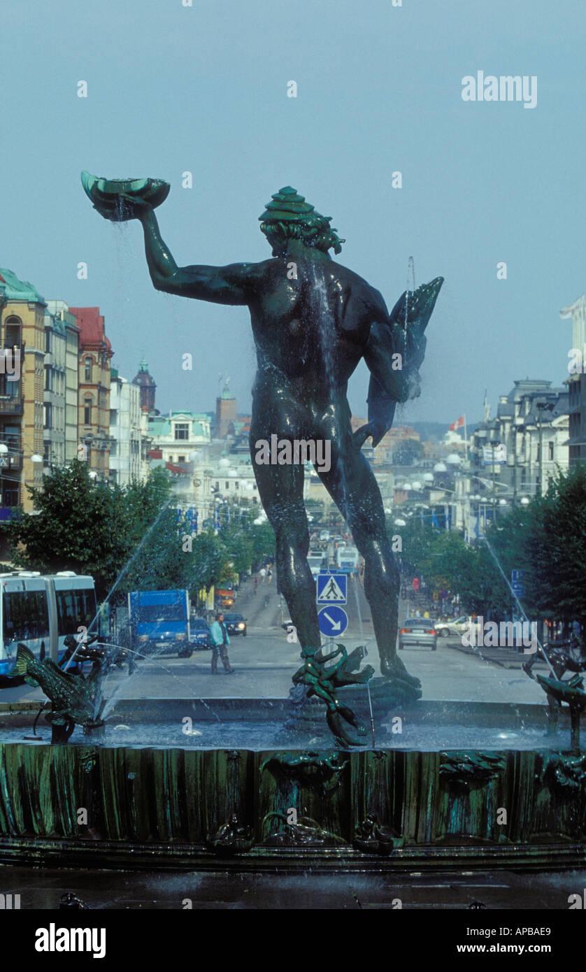 Poseidonstatyn och Avenyn Göteborg statue poseidon gothenburg sweden  - Stock Image
