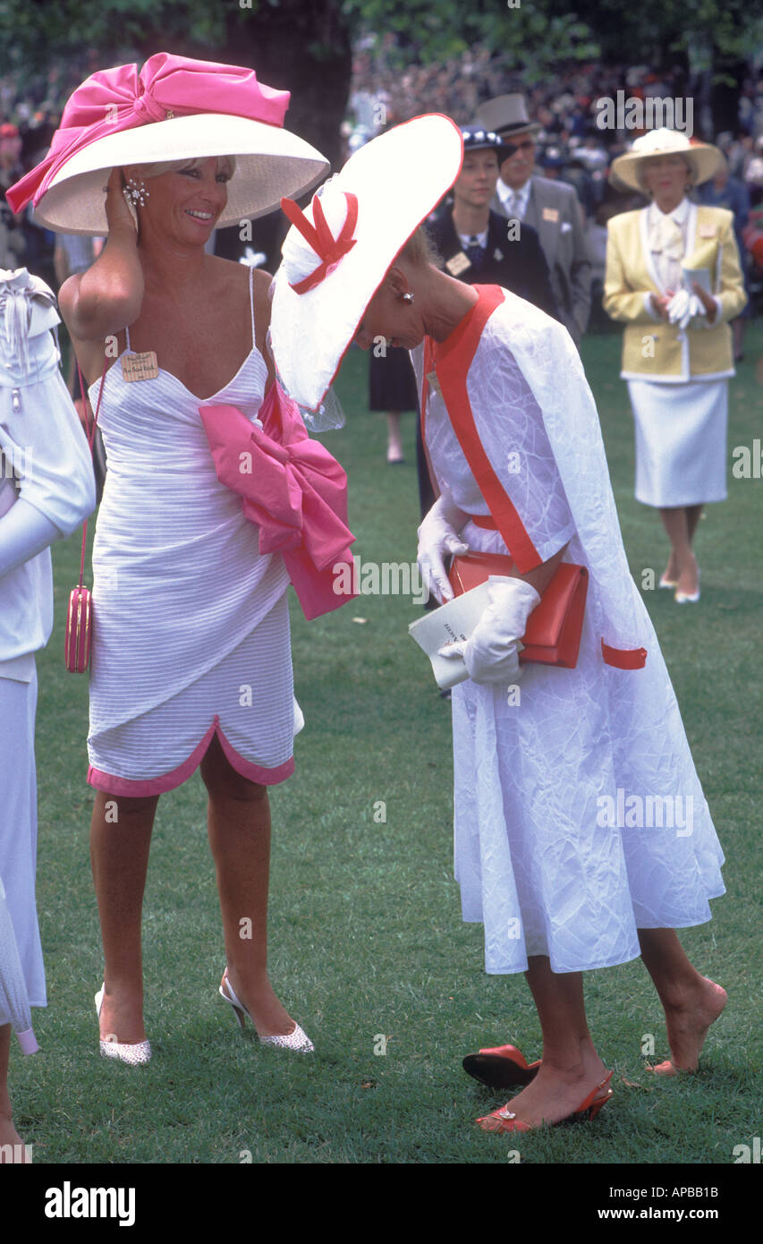 Ladies Day Royal Ascot Horse races racing Berkshire England Circa 1985 HOMER SYKES - Stock Image