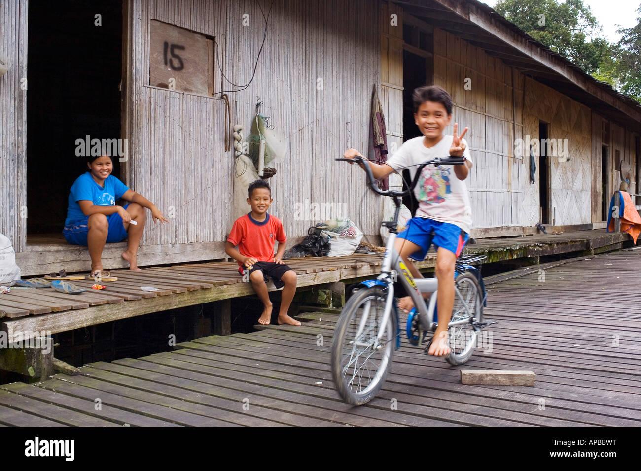 Iban people, Sarawak, Borneo, Malaysia - Stock Image
