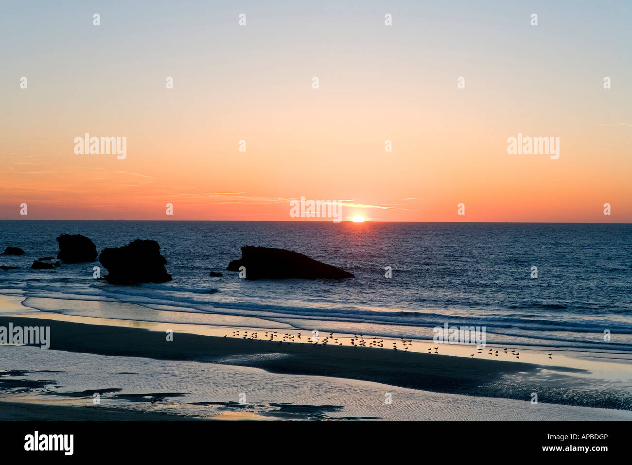 Sunset, Biarritz, Basque Country, France - Stock Image
