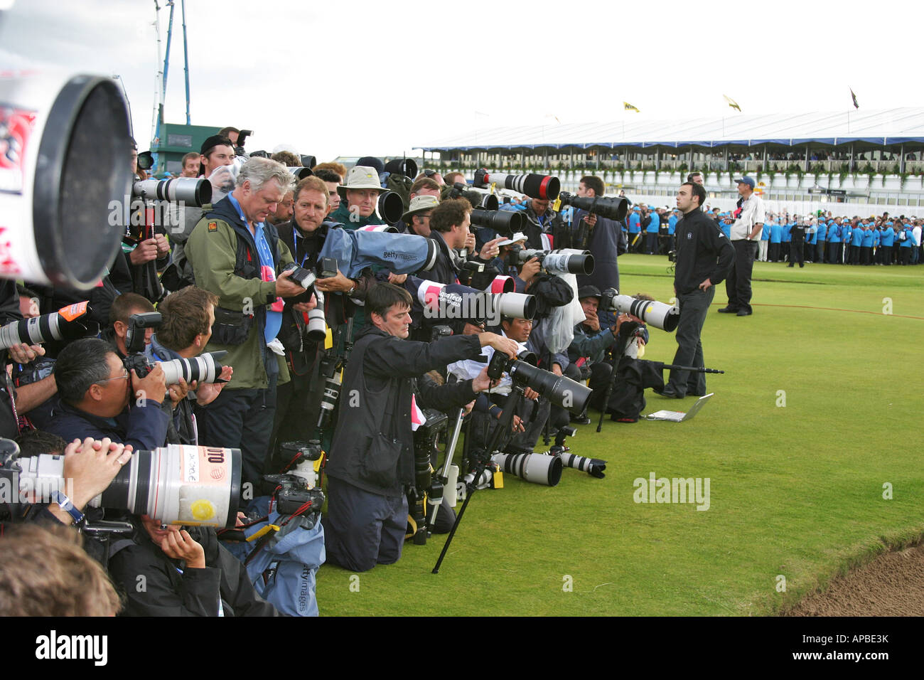 Press pack waiting to shoot the winner of the British Open Golf Championship Carnoustie Scotland Stock Photo