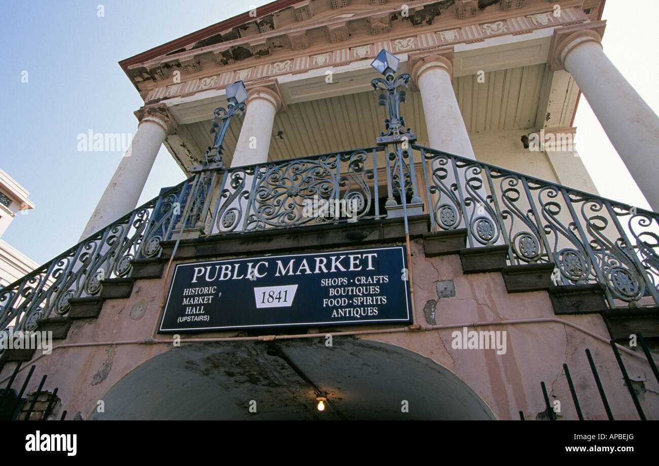 A view of the public market in historic Market Hall in the historic district of Charleston - Stock Image