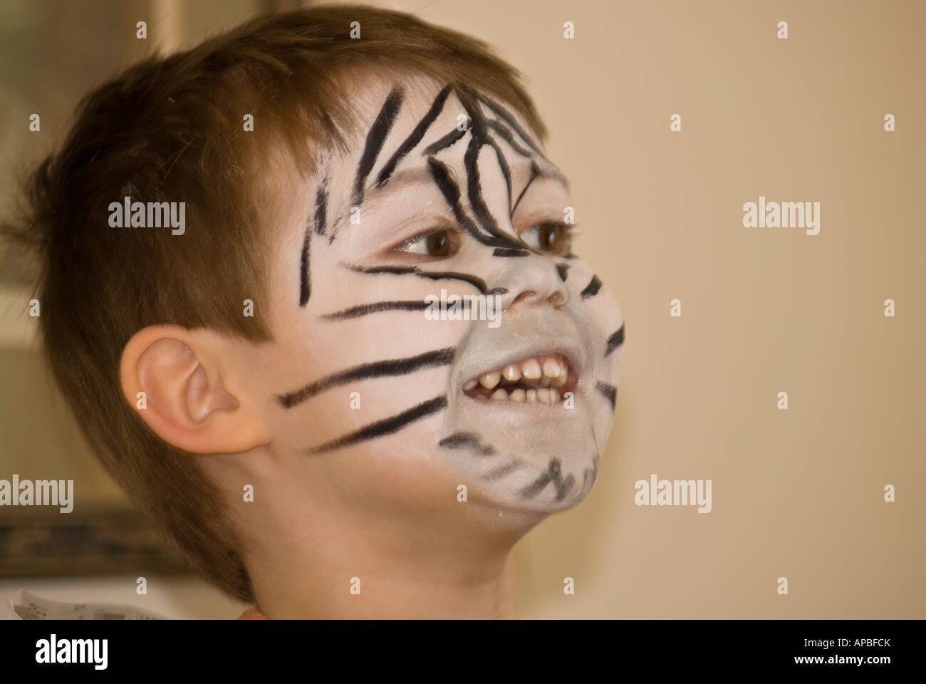 Boy Child Zebra Face Paint Stock Photo Alamy