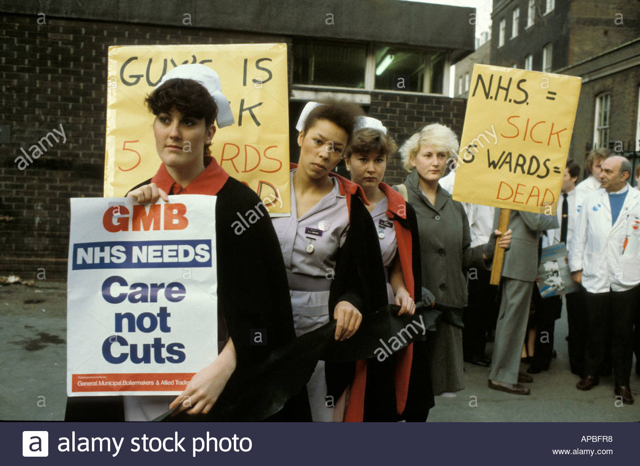 Protest outside Guys Hospital London 1984 - Stock Image