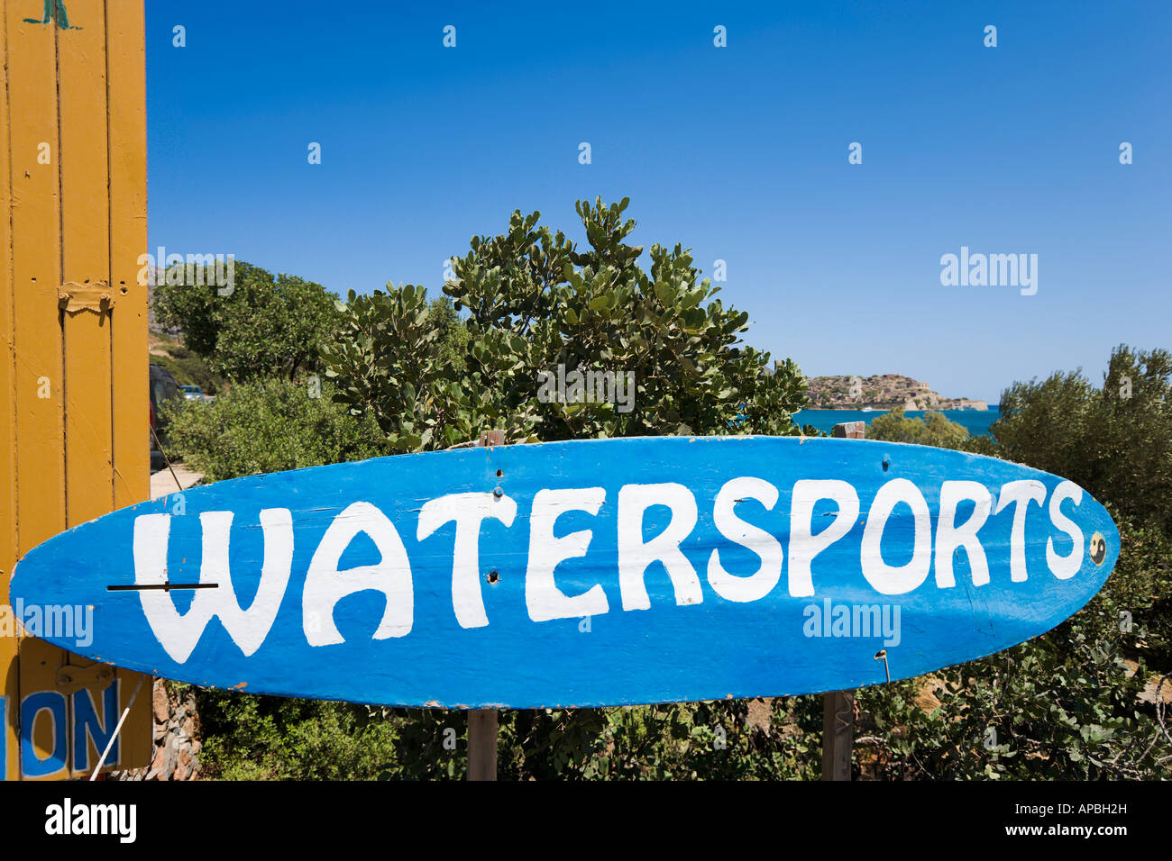 Watersports sign on Driros Beach, Elounda, North East Coast, Crete, Greece - Stock Image