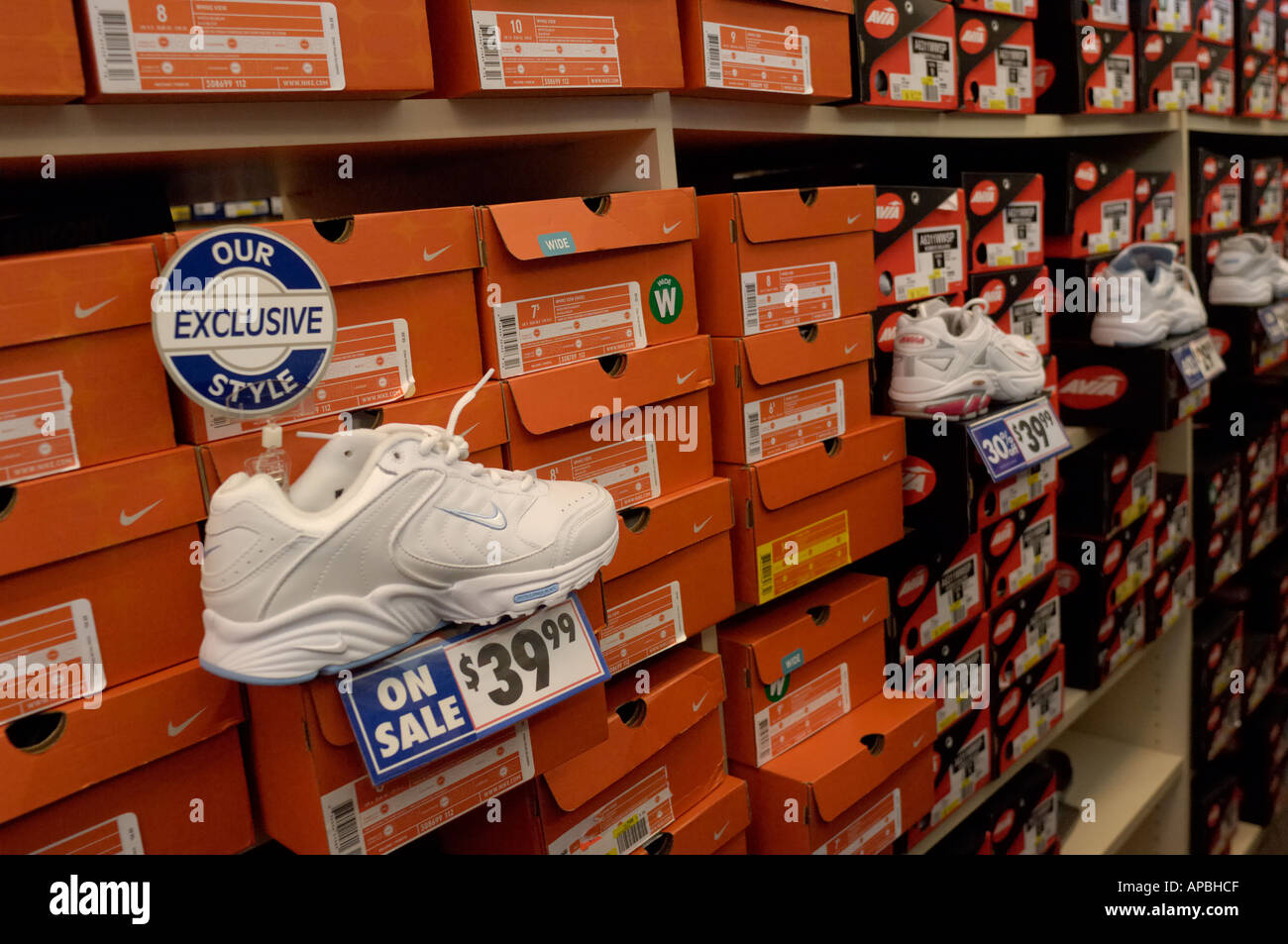 Shoes on display at a Nike discount shoe store Stock Photo  5137870 ... 0daa79cab