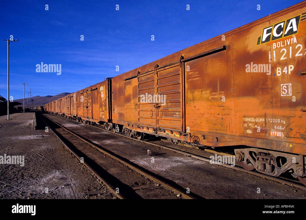 A working freight cargo train in Uyuni train station - Stock Image