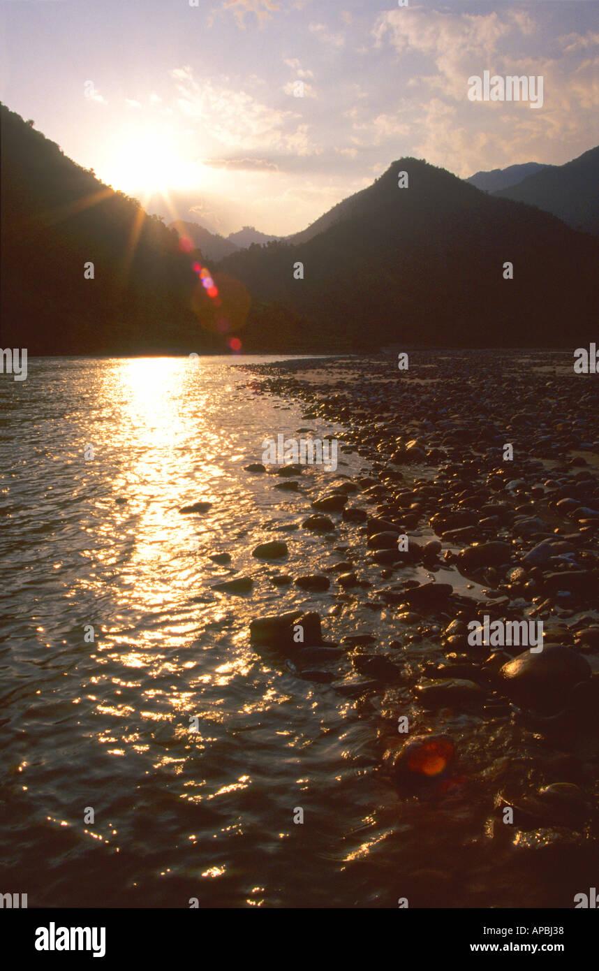 Sunset on the Sun Kosi River Nepal Asia - Stock Image
