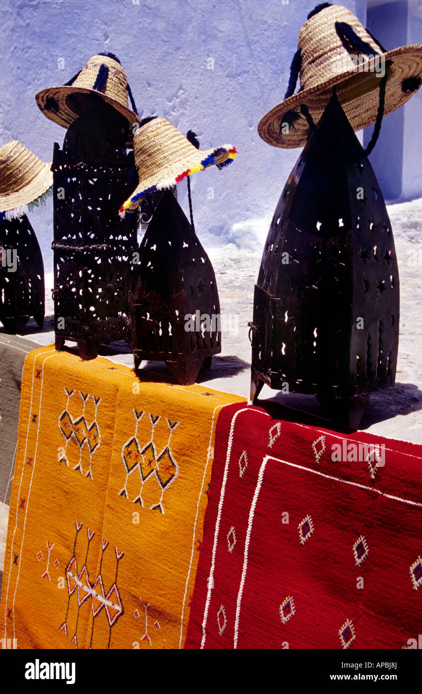 Carpets mats hats and candle holders in Chefchaouen Chaouen - Stock Image