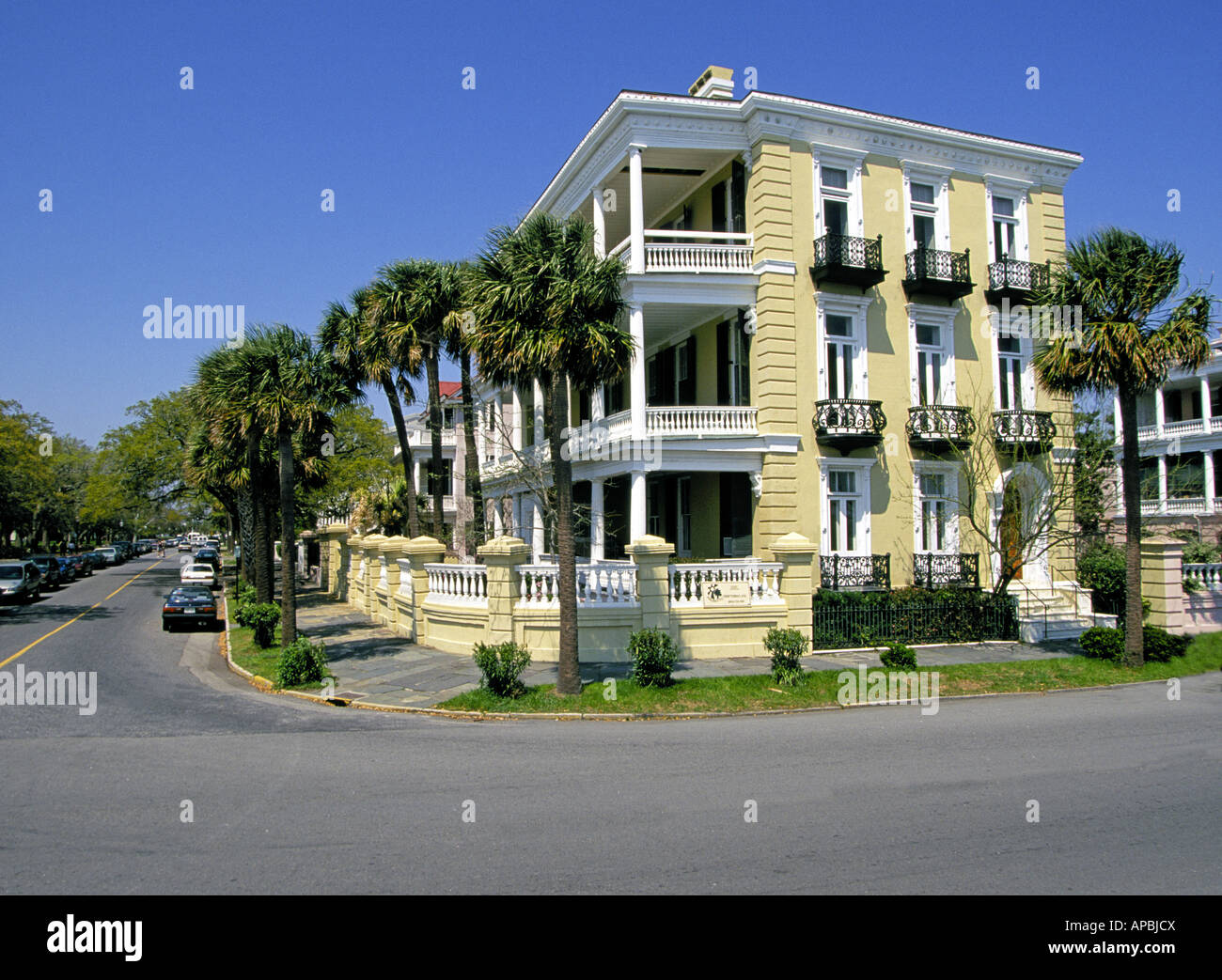 A view of the beautiful historic homes in the historic district of Charleston - Stock Image