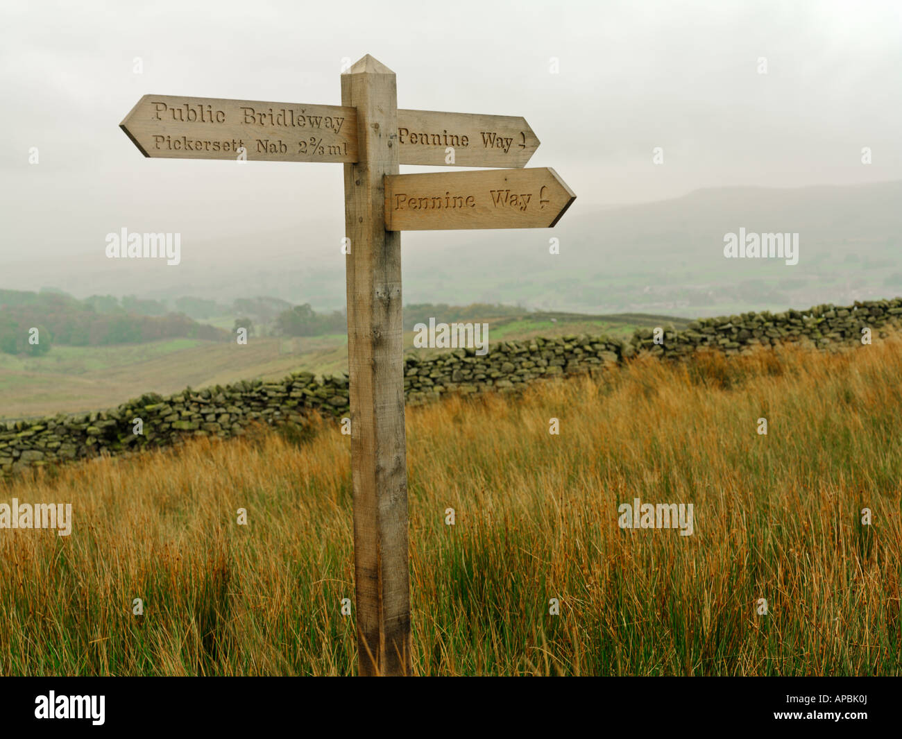United Kingdom Yorkshire Yorkshire Dales National Park signage for the Pennine Way a 270 mile hiking path - Stock Image