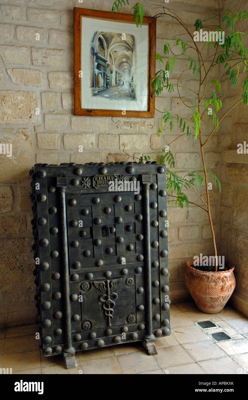 A very old safe of French design in the museum at Kalat el-Koubba - Stock Image