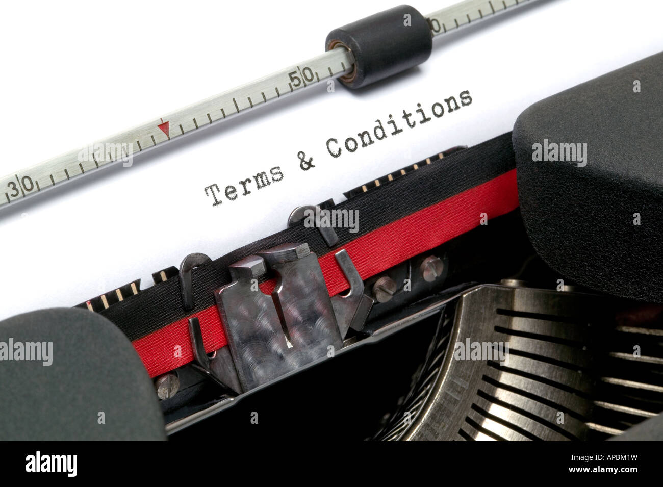 Terms and Conditions typed on an old typewriter - Stock Image