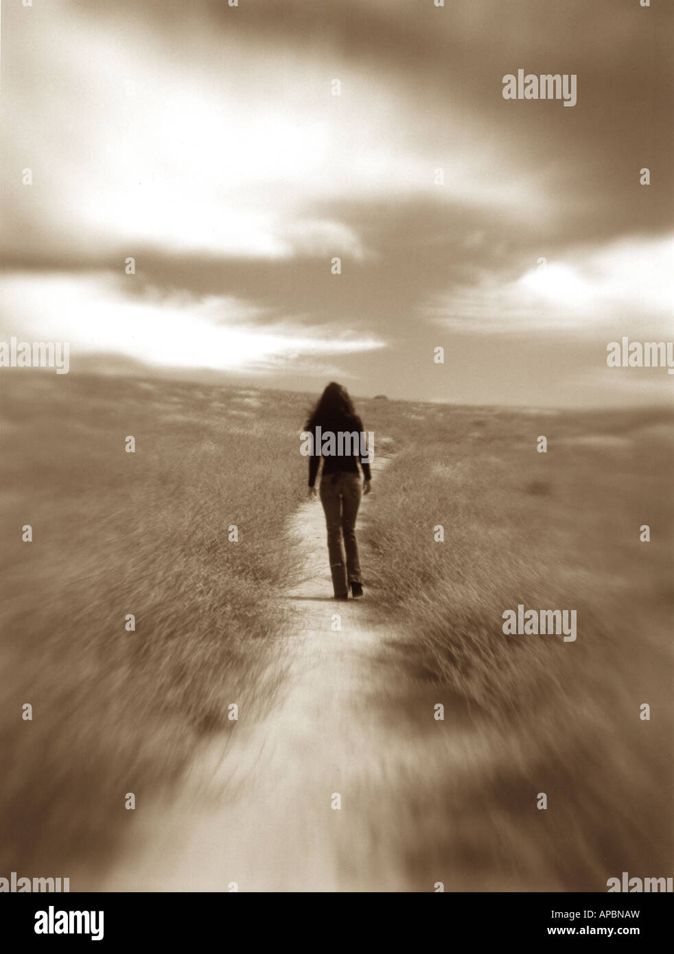 lone woman walks away on dirt path black and white wander lost walk explore hike trail - Stock Image