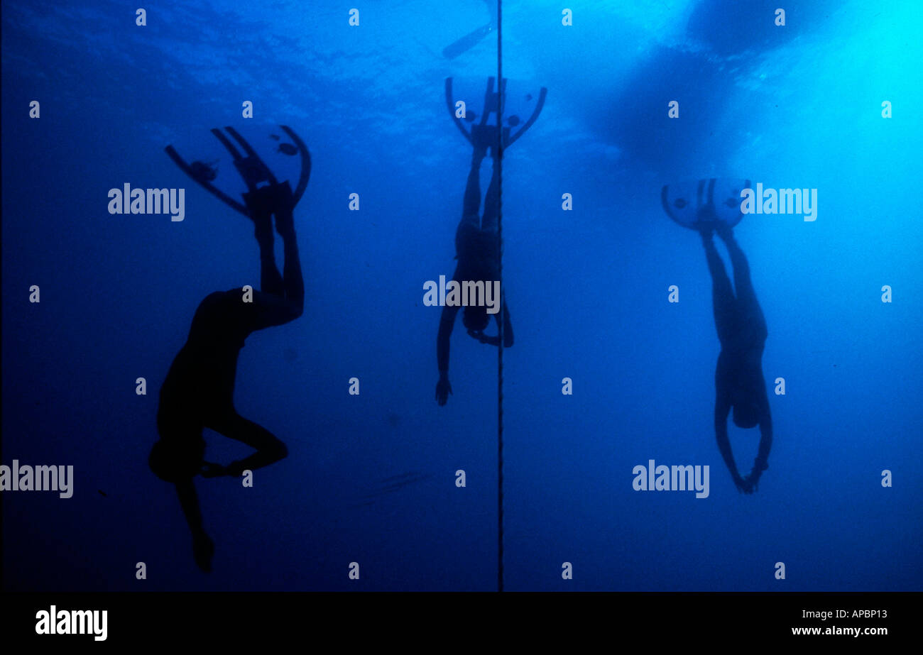 Free diving under water in South of France - Stock Image