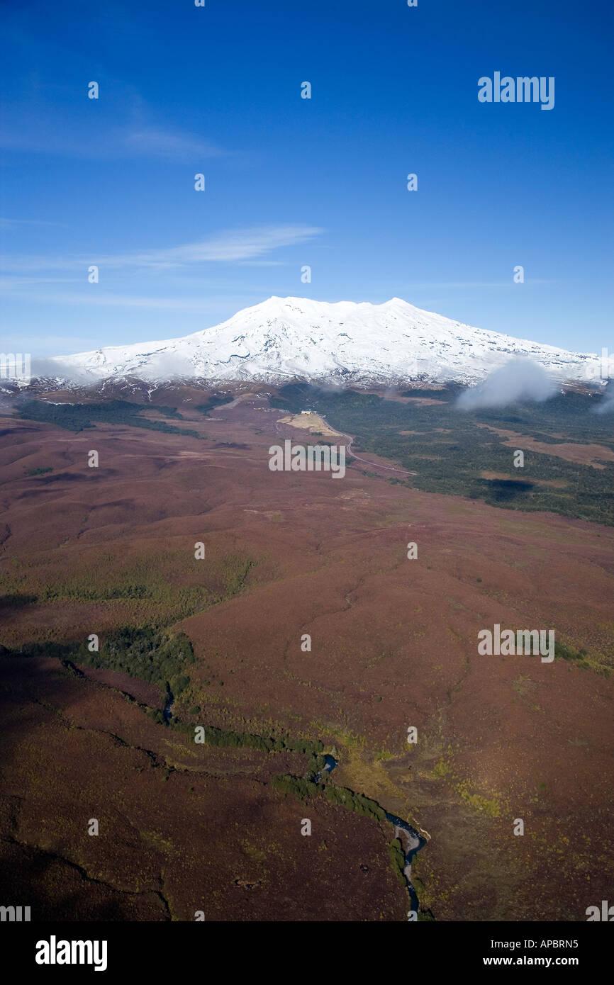 Mt Ruapehu Tongariro National Park Central Plateau North Island New Zealand aerial - Stock Image