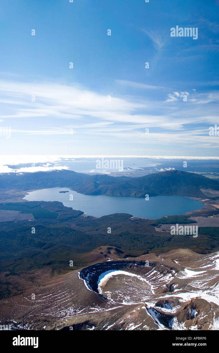 Sulphur Lagoon Crater on Mt Tongariro Tongariro National Park Lake Rotoaira and Lake Taupo bottom to top Central Plateau NI NZ - Stock Image