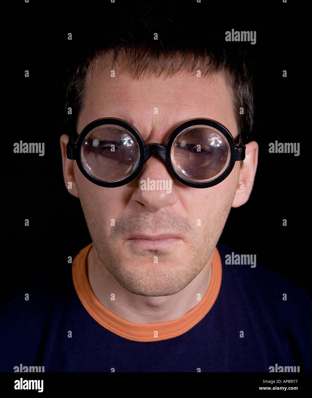person thick Midget glasses with