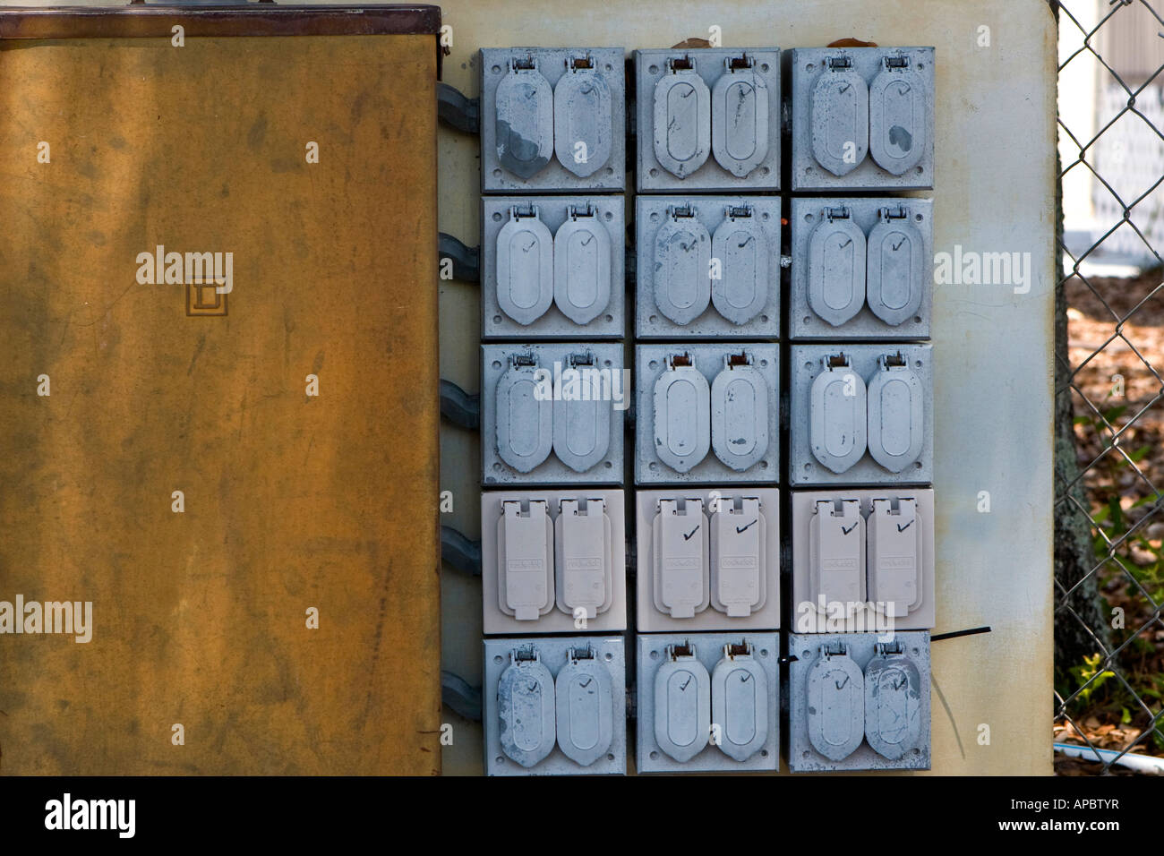 Electrical Box Stock Photos Images Alamy House Wiring Two Gang Switch Industrial With Multiple Outlets Image