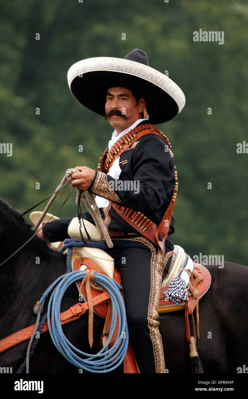 A Mexican Horseback Riding Reenactor At A Wild West Show Stock Photo Alamy