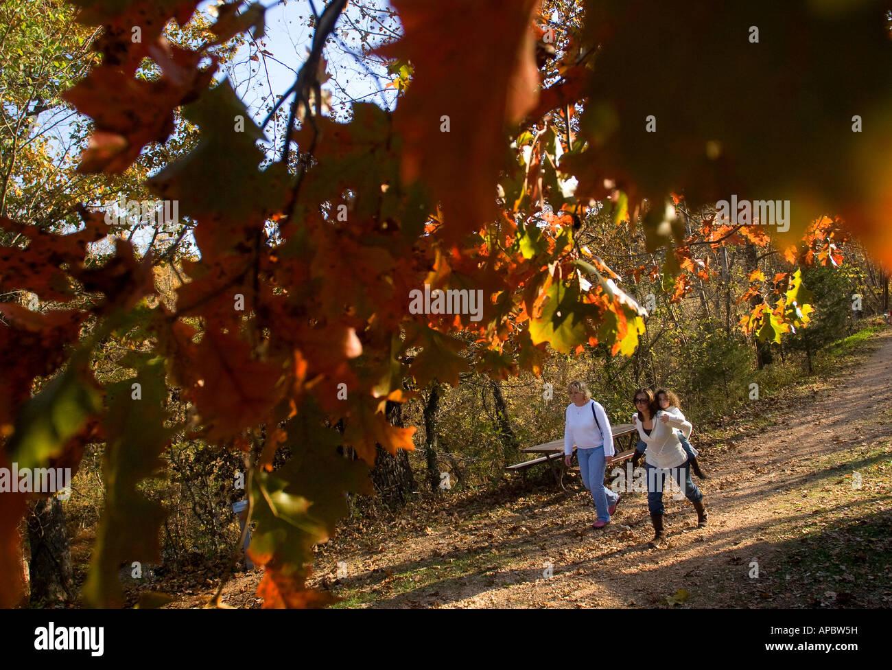 Outdoor enthusiasts walk the Tanyard Creek Trail in Bella Vista, Ark. Stock Photo