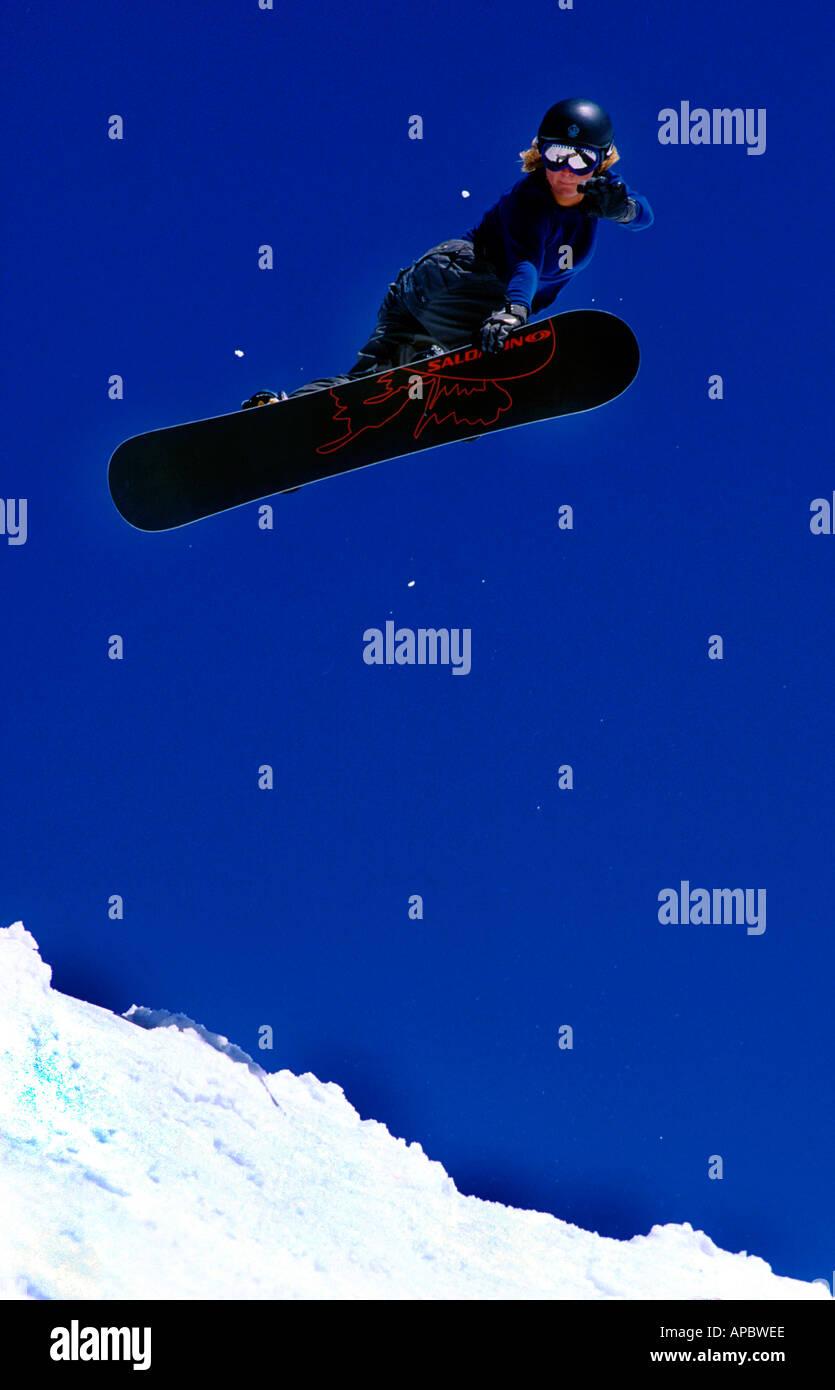 Snowboarder Jenny Jones in Les Deux Alpes France Stock Photo