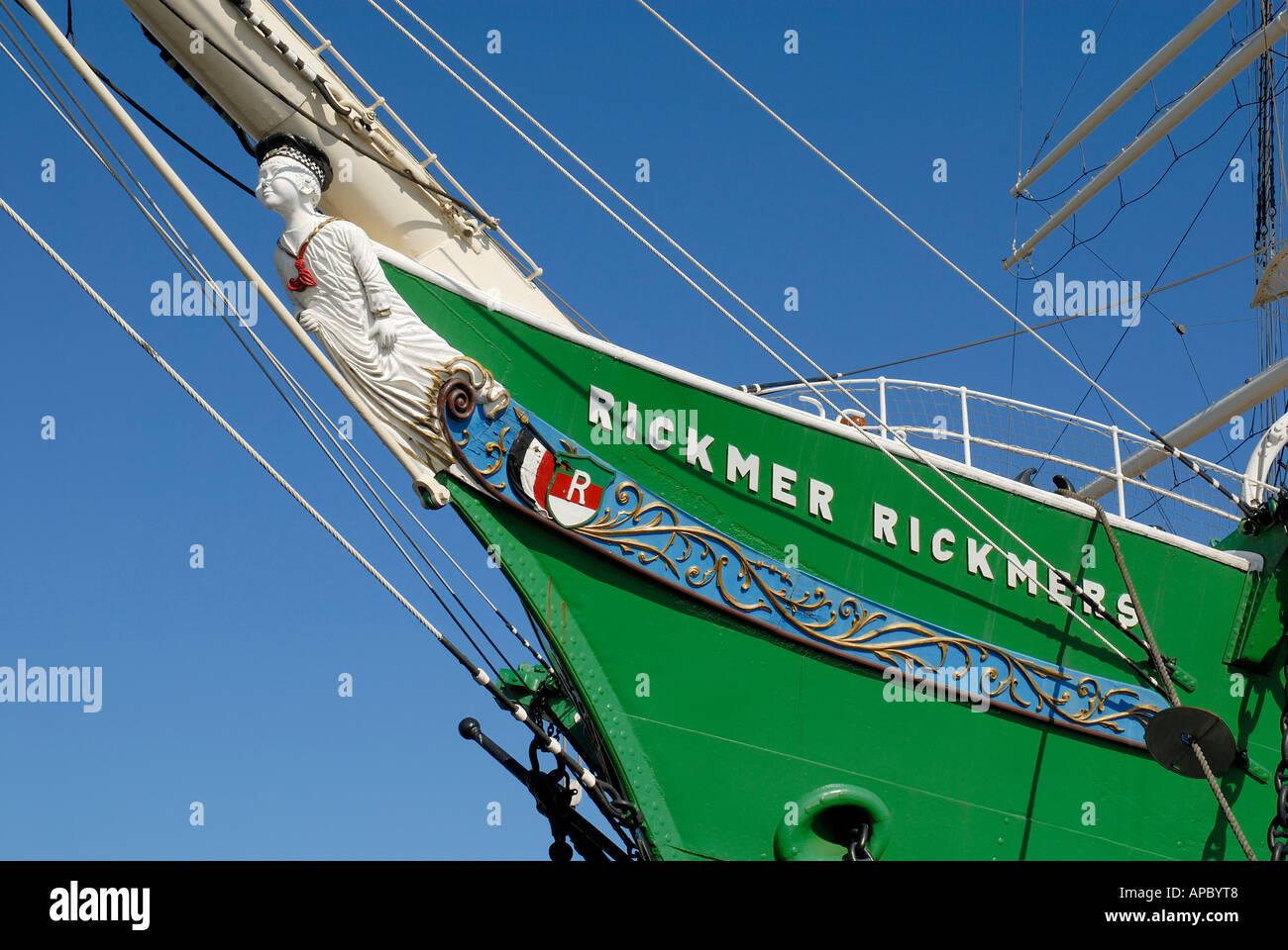 Bow and figurehead of historic sail ship Rickmer Rickmers at Hamburg Harbour, Hamburg, Germany - Stock Image