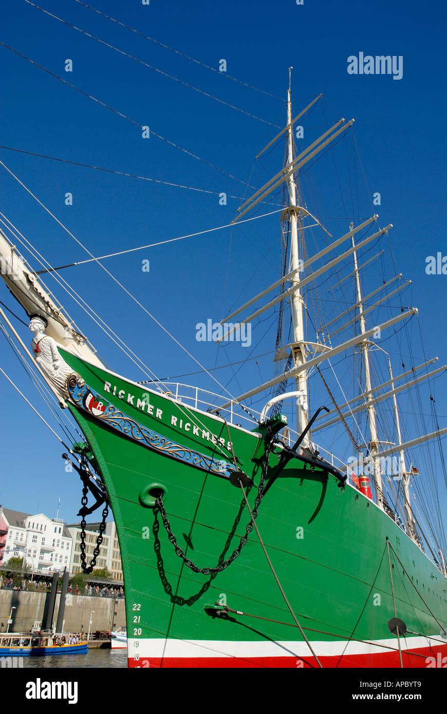 Bow of historic sail ship Rickmer Rickmers at Hamburg Harbour, Hamburg, Germany - Stock Image