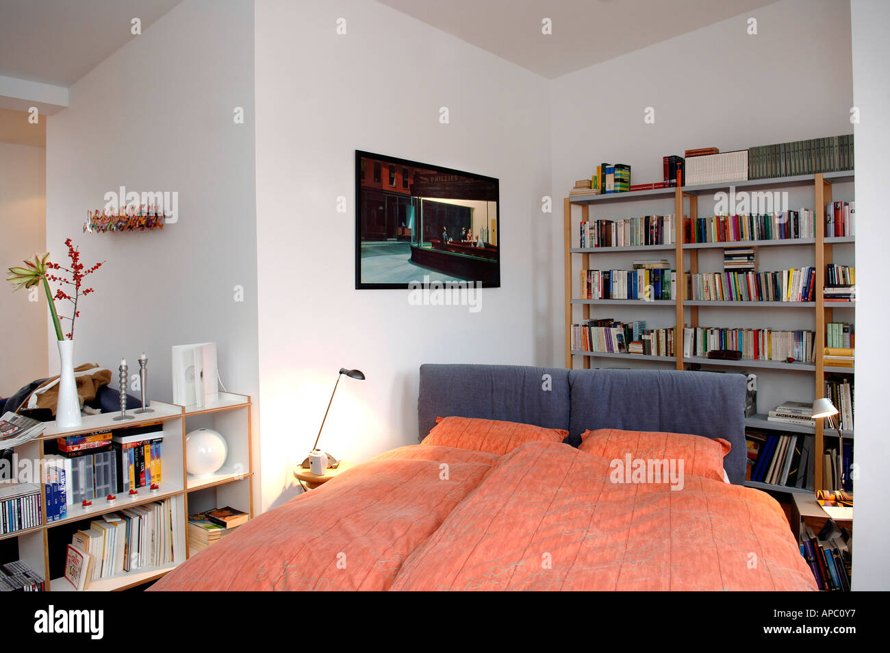 Decay developed attic dwelling in Berlin. Bedroom with books shelves and marriage bed. Stock Photo