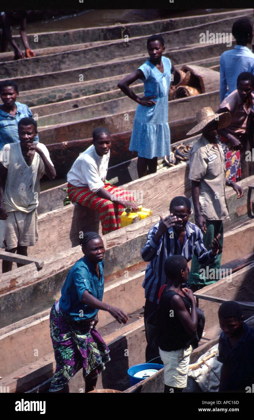 Dugout canoes Congo Zaire River D R Congo Zaire Central Africa Stock Photo
