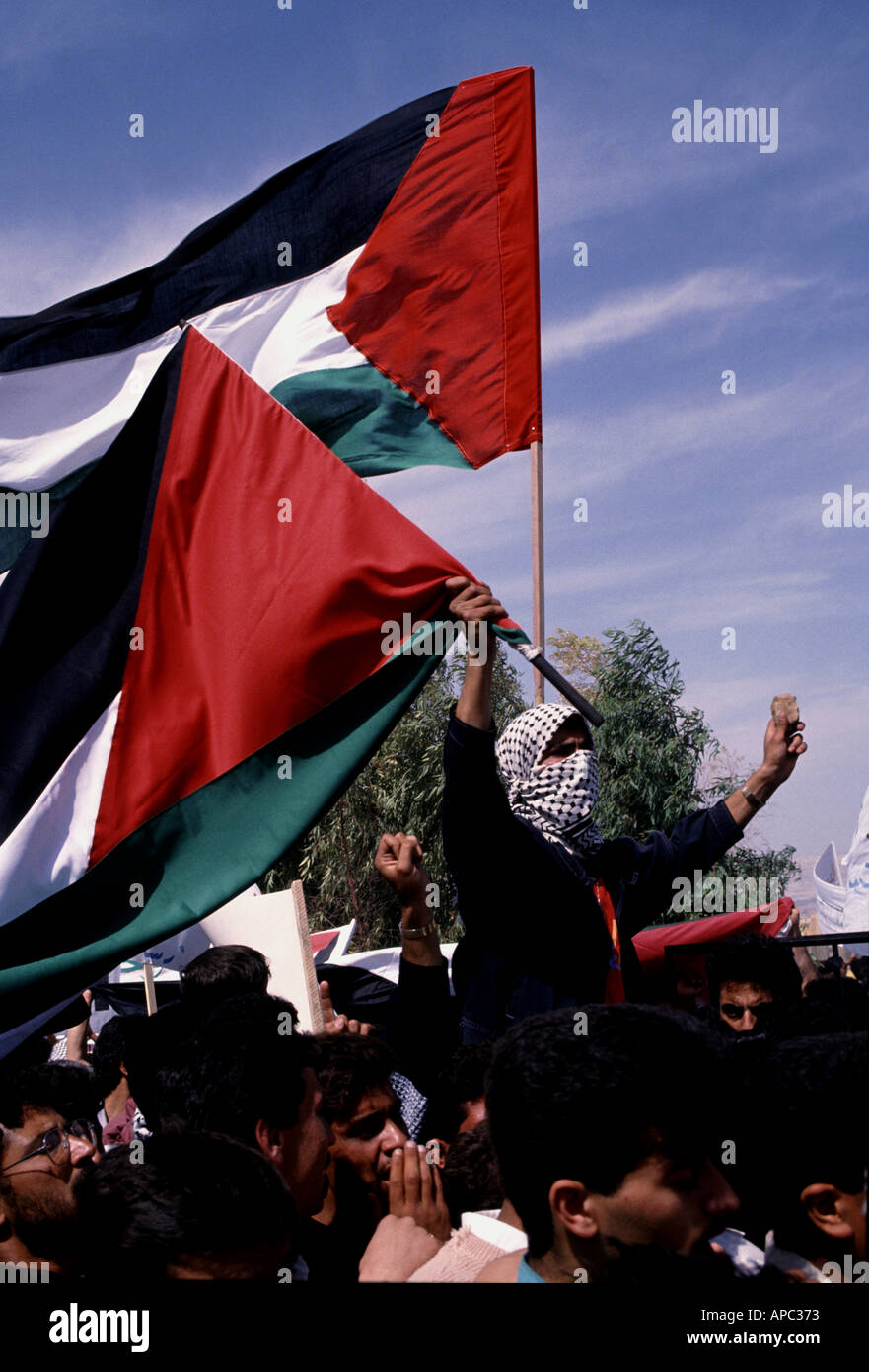 Palestinian demonstrator holding Palestinian flag and rock during demonstration in Jordan Valley Jordan - Stock Image