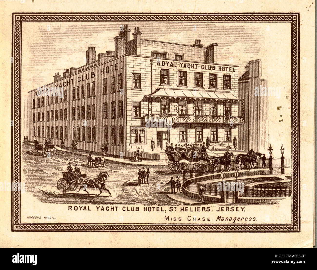 Brochure of Royal Yacht Club Hotel, St. Helier, Jersey, Channel Islands circa 1888 - Stock Image