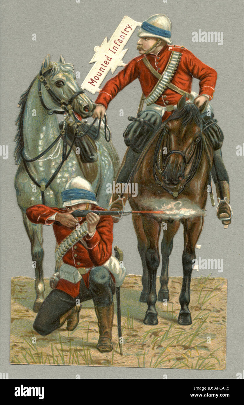 Chromolithographed diecut scrap of Mounted Infantry, Boer War circa 1900 - Stock Image