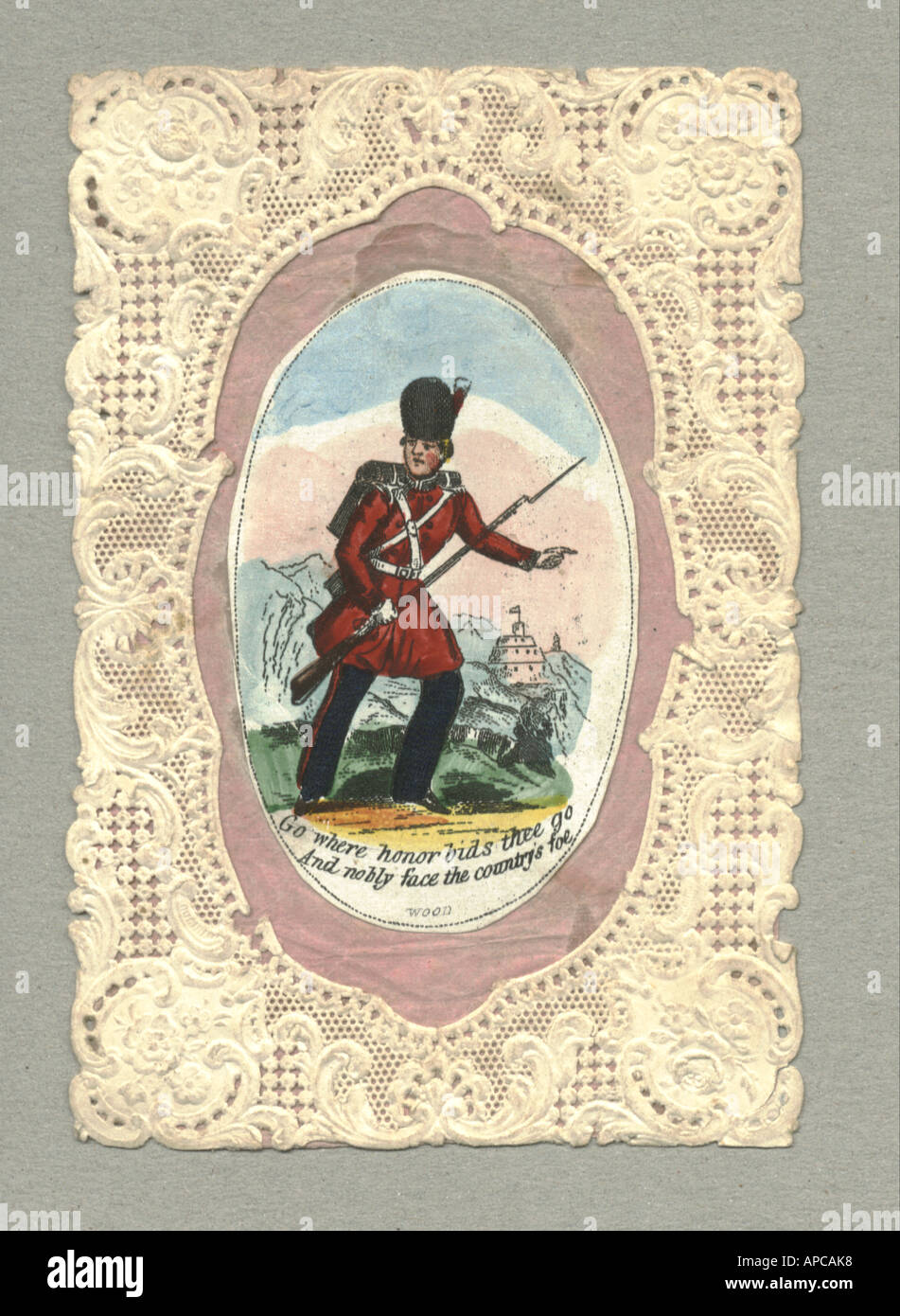 Handcoloured greeting card with blind embossed  paper lace border for soldier going to Crimea 1854 - Stock Image