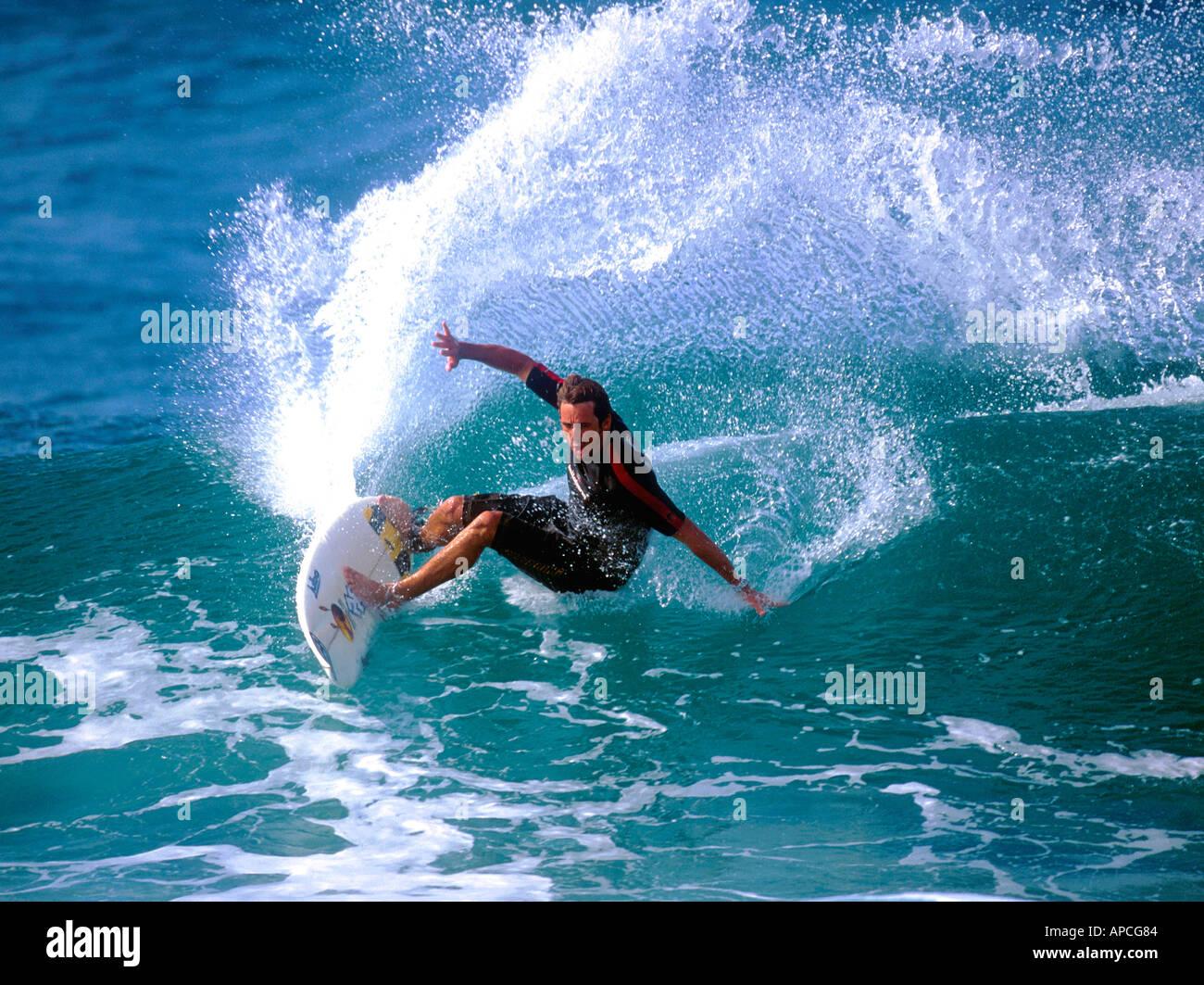 Brendan Margo Margeison Aus surfing in Hawaii USA December 2001 - Stock Image
