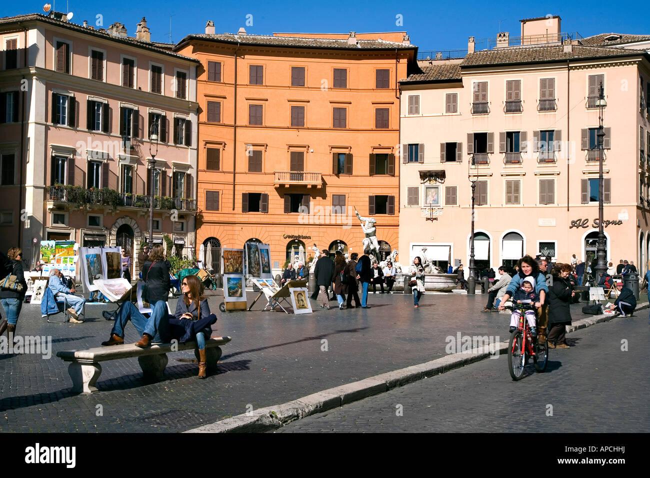 Piazza Navona, Rome, Latium, Italy Stock Photo