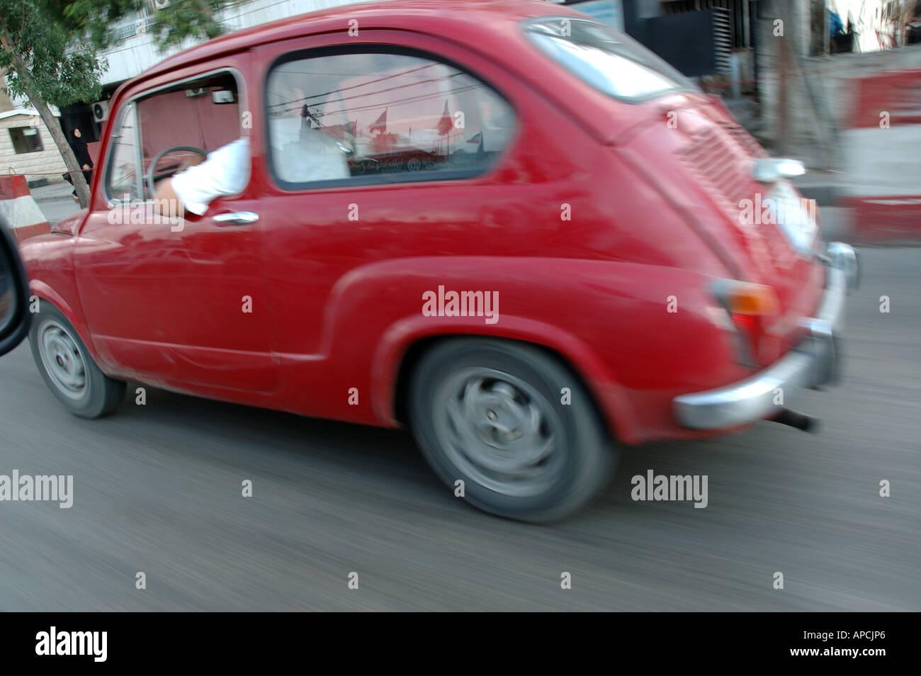 fiat 600 classic italian car beirut street lebanon - Stock Image