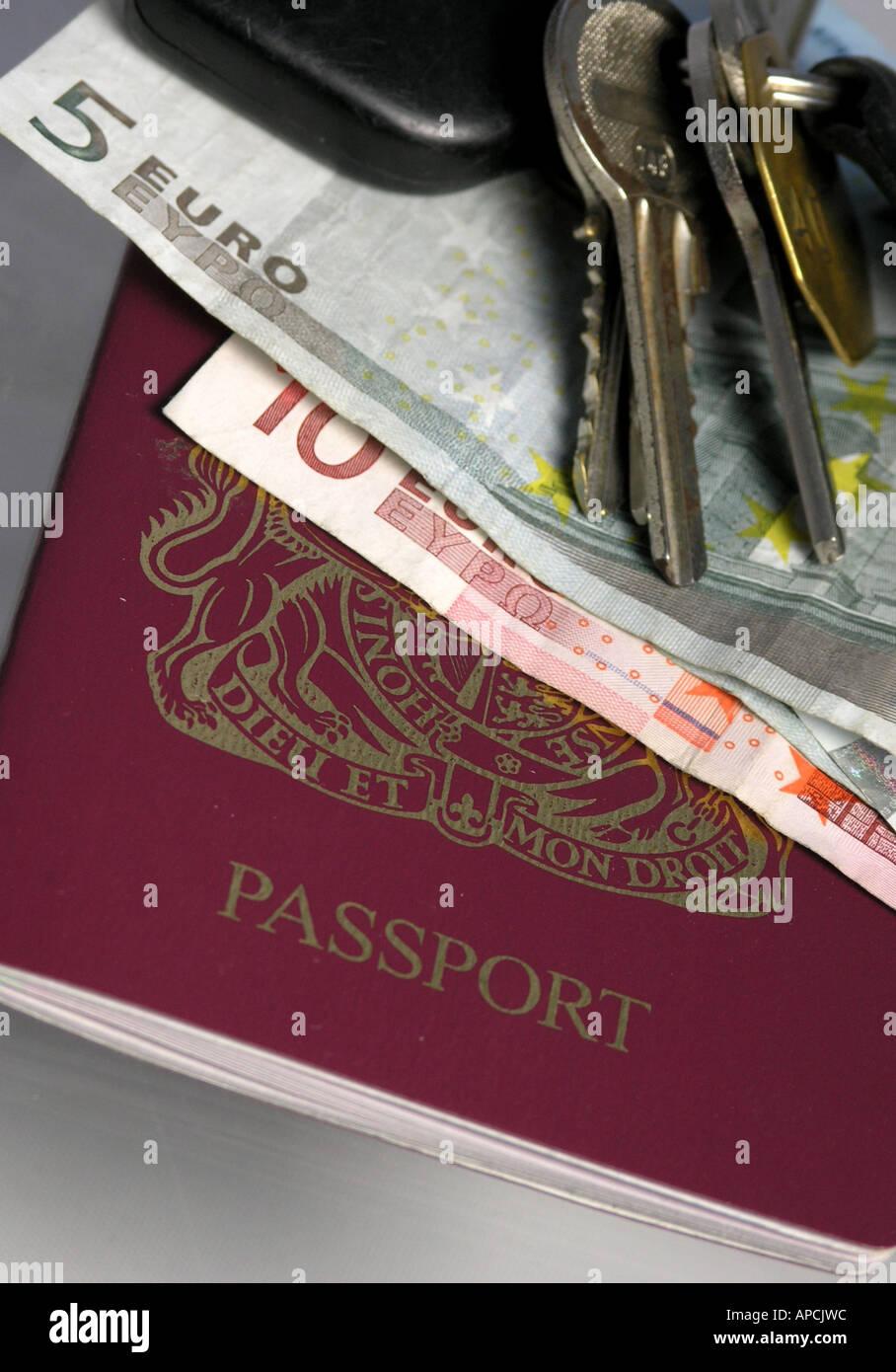 Uk Passport Euros Car Keys Stock Photos Uk Passport Euros Car Keys