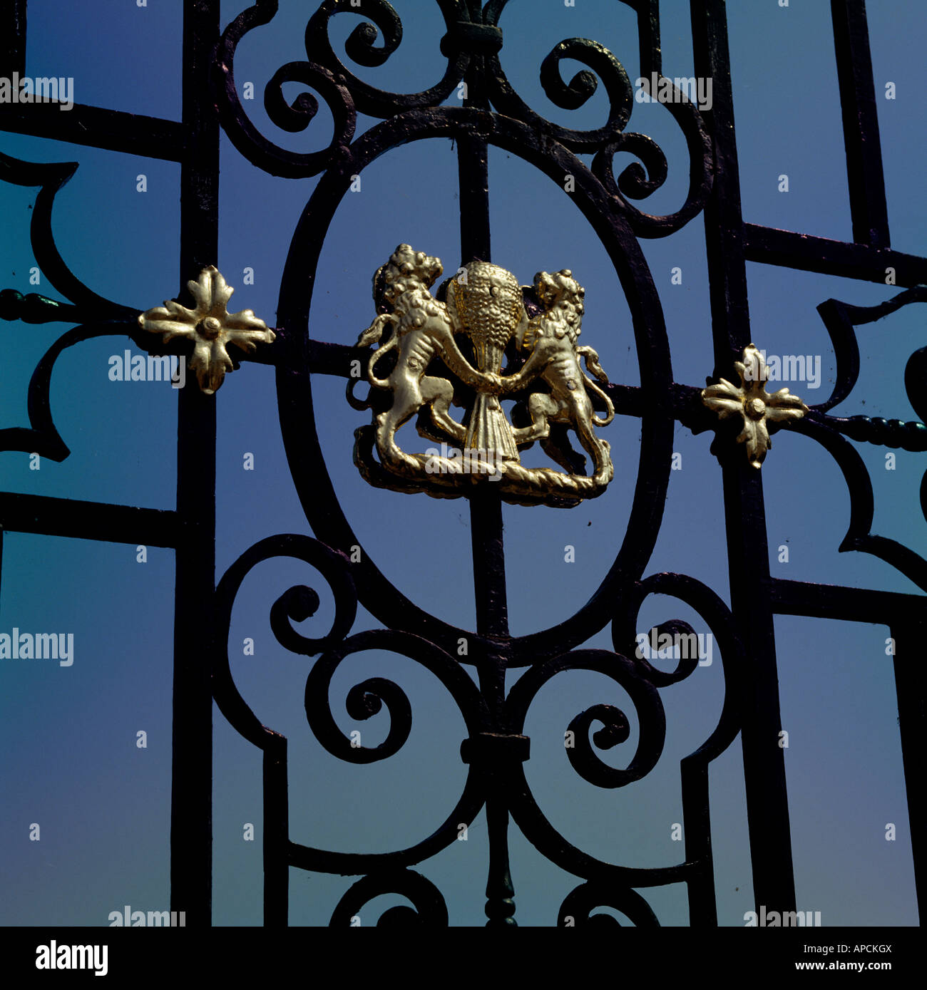 heraldry detail in the front gate of Burghley House - Stock Image