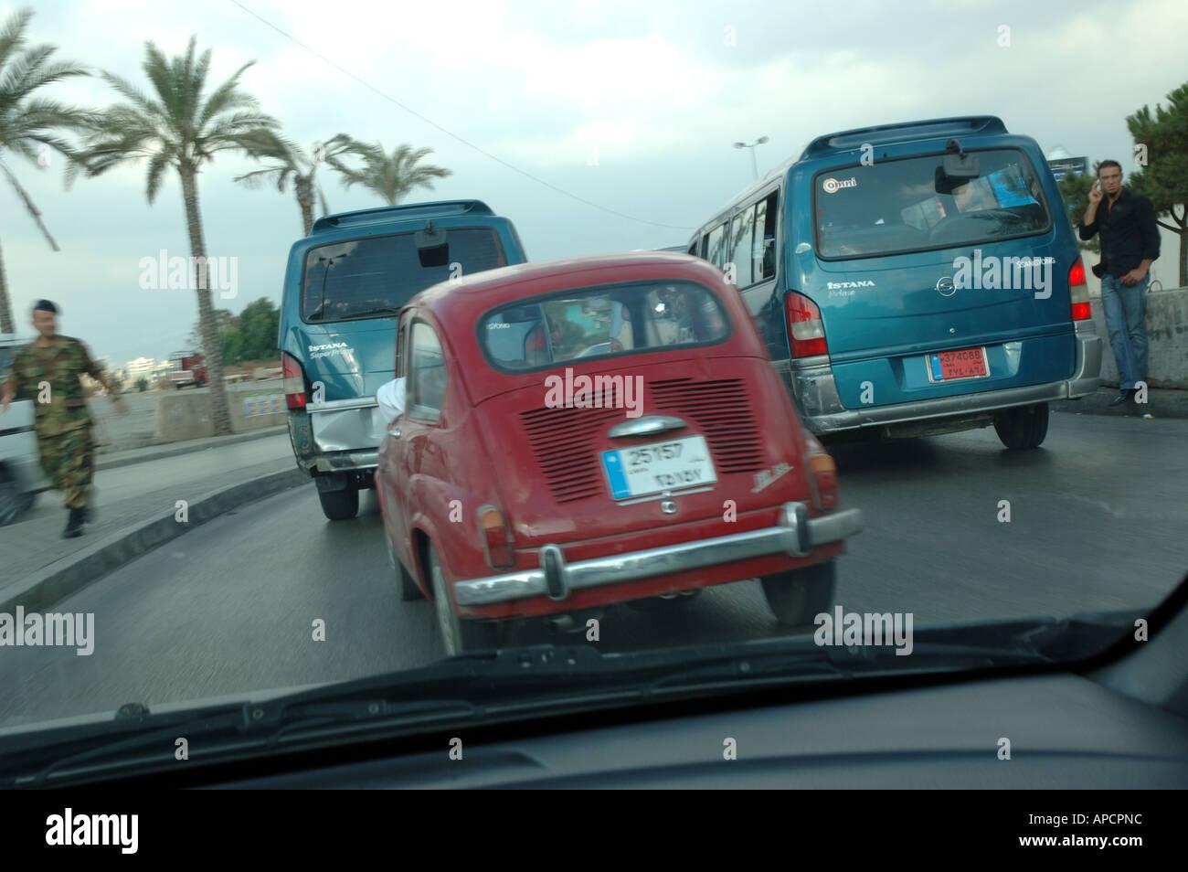 road show of classic italian mini car fiat 600 lebanon - Stock Image