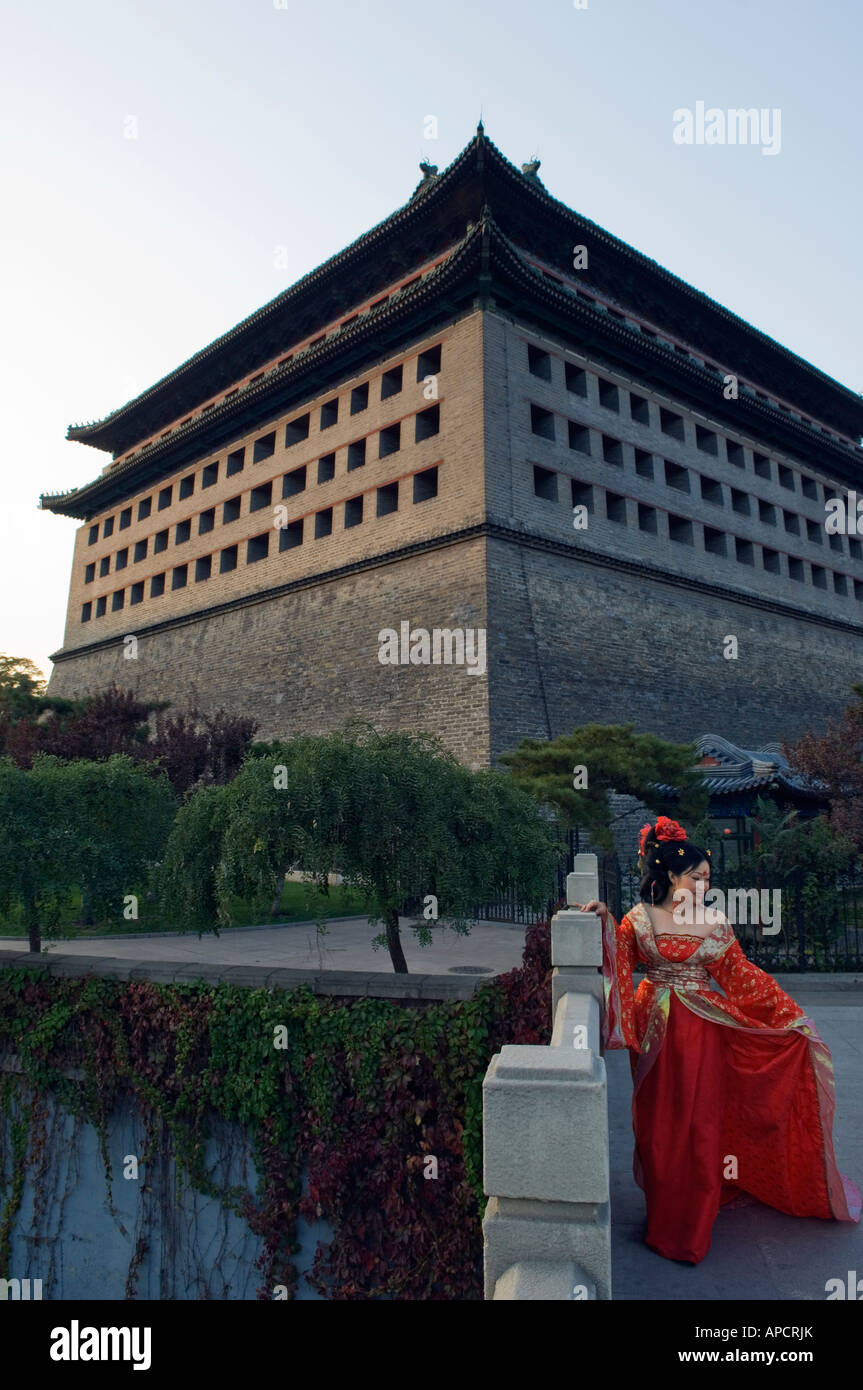 Ming Dynasty city wall gate Beijing China - Stock Image