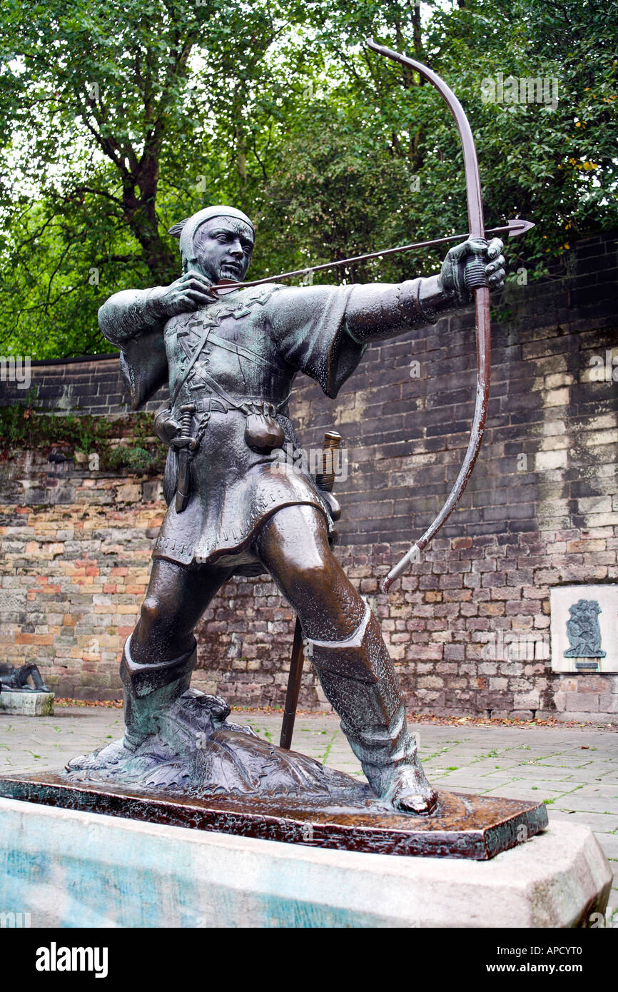 Robin Hood Statue Nottingham England UK United Kingdom EU European Union Europe - Stock Image
