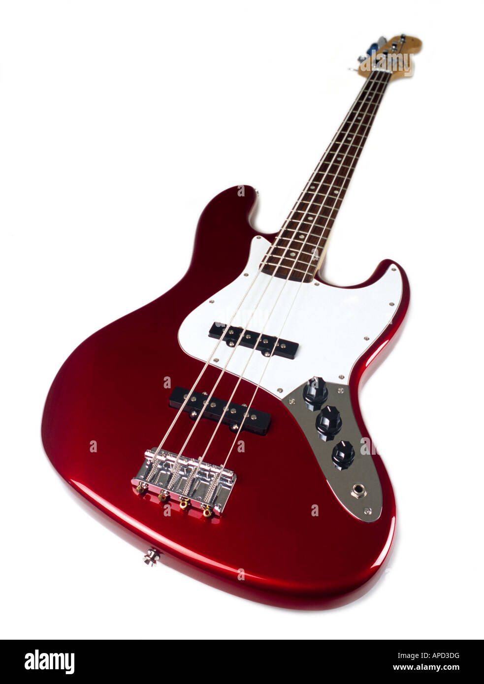 Red bass guitar. - Stock Image