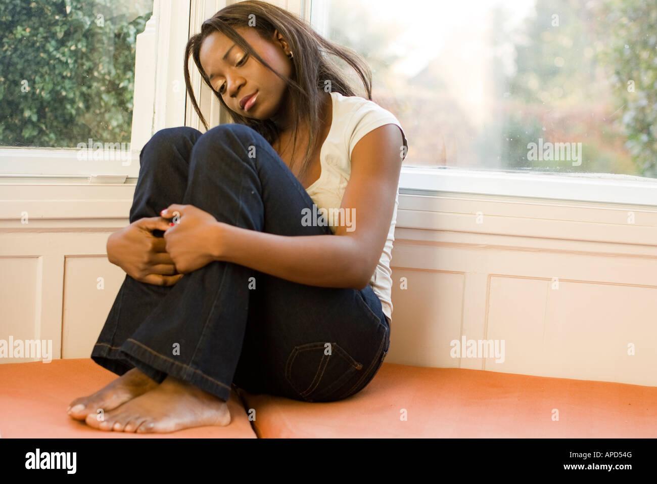 moody ethnic woman - Stock Image
