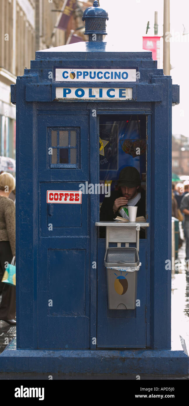 Coffee kiosk in a former police box - Stock Image