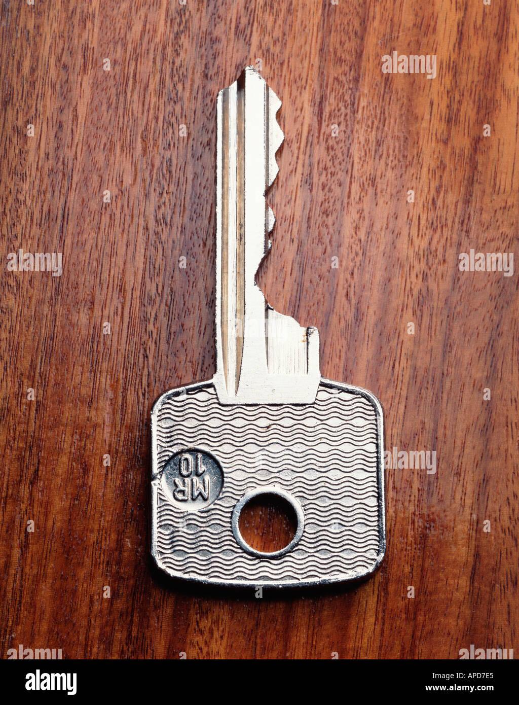 key on wood - Stock Image