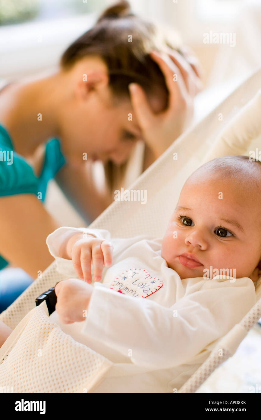 Mother not coping with baby - Stock Image