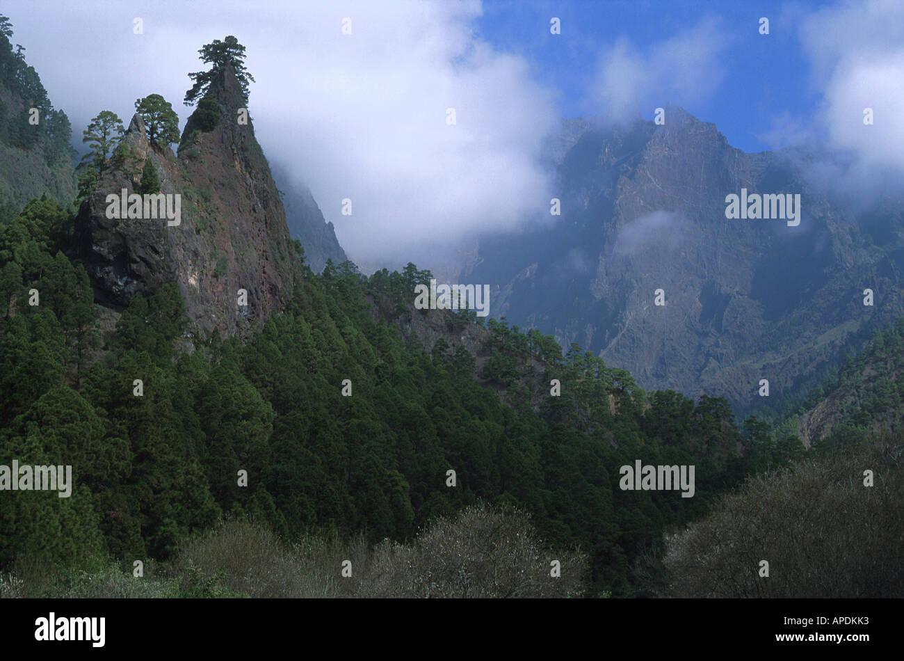 Roque del Huso im Krater, NP Caldera de Taburiente La Palma, Kanarische Inseln - Stock Image