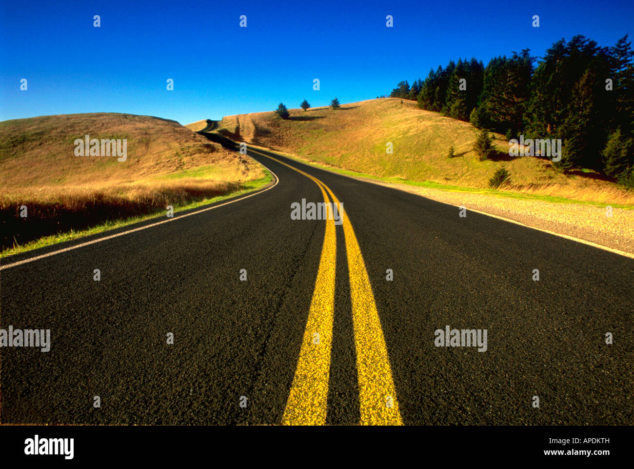 Deserted highway Route 1 California - Stock Image