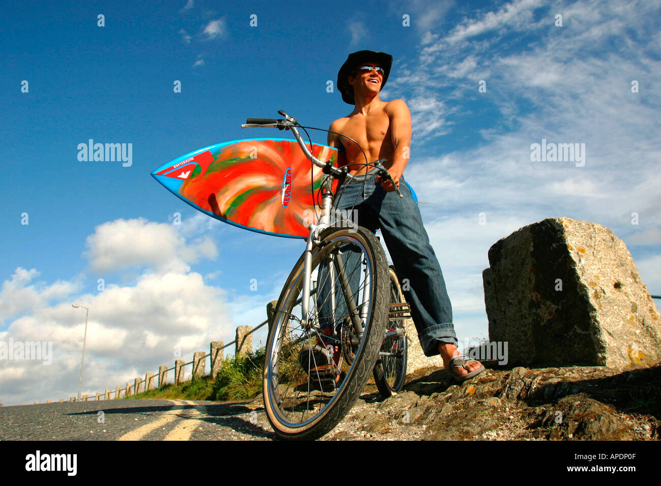 Alan Stokes portrait at the Rip Curl Boardmasters Newquay 2002 - Stock Image